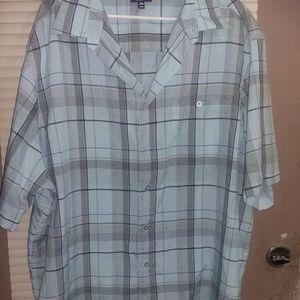 George-Blue Grey Black Plaid button down shirt